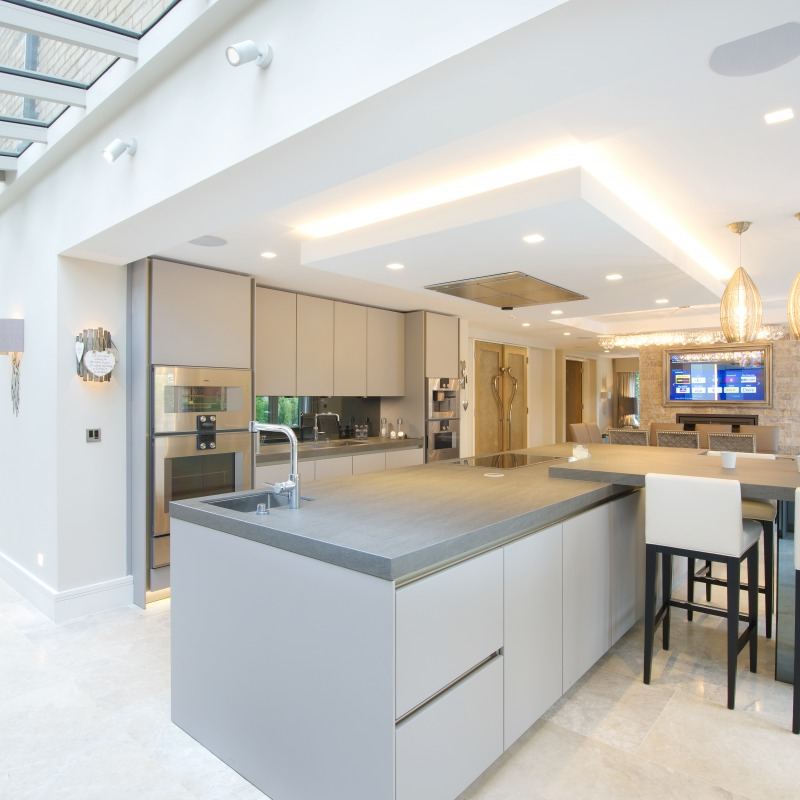 home technology and lighting in luxury kitchen